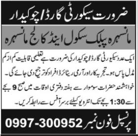 Manshera Public School & College Job 2020 in Manshera KPK
