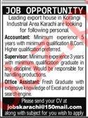 Accountant & Supervisor Jobs 2020 in Karachi