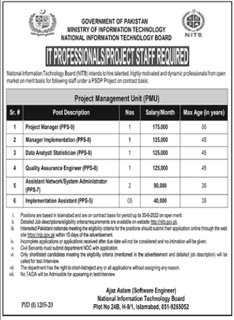 IT Professionals & Project Staff Jobs 2020 in Islamabad