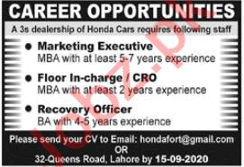 Honda Fort Lahore Jobs 2020 for Marketing Executives