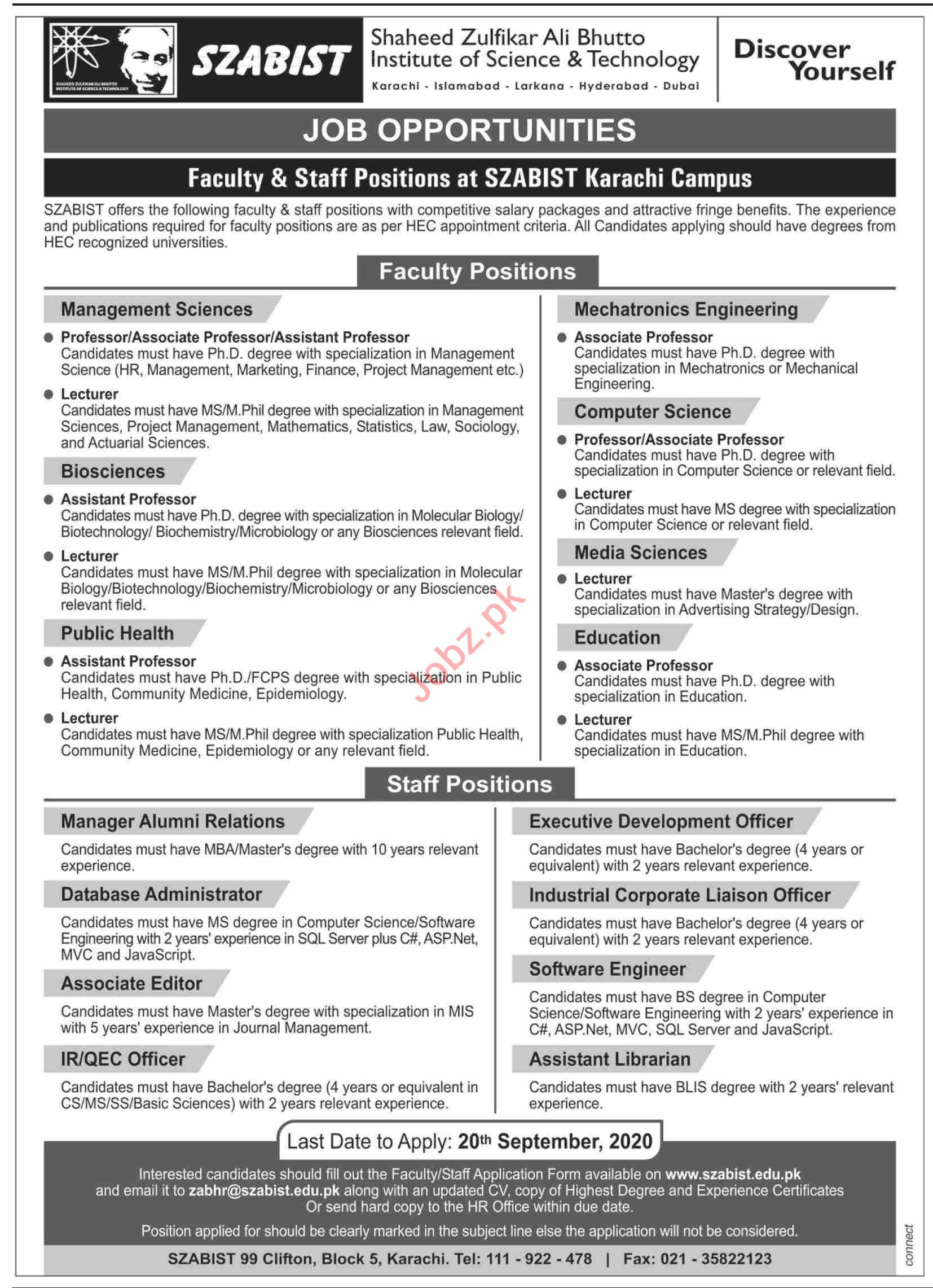 SZABIST University Karachi Jobs 2020 Faculty & Office Staff