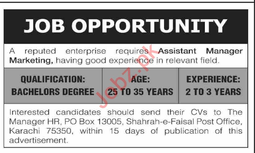 Assistant Manager Marketing Jobs 2020 in Karachi