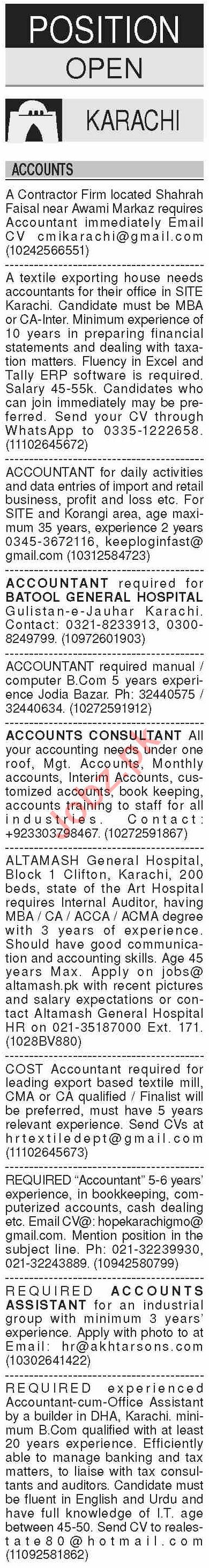 Dawn Sunday Classified Ads 6 Sep 2020 for Accounts Staff