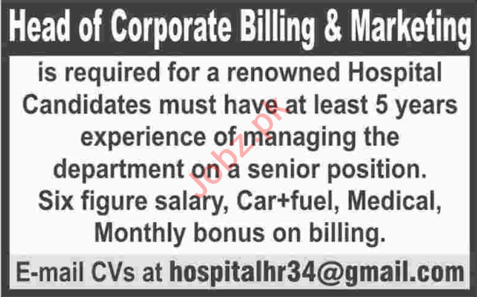 Head of Corporate Billing & Marketing Jobs 2020