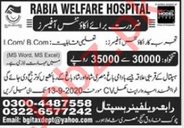 Rabia Welfare Hospital Lahore Jobs 2020 Accounts Officer