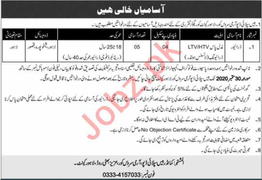 Base Supply Depot Army Service Corps ASC Lahore Jobs 2020