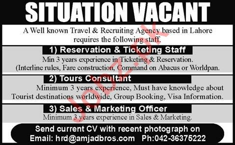 Tours Consultant & Marketing Officer Jobs 2020 in Lahore