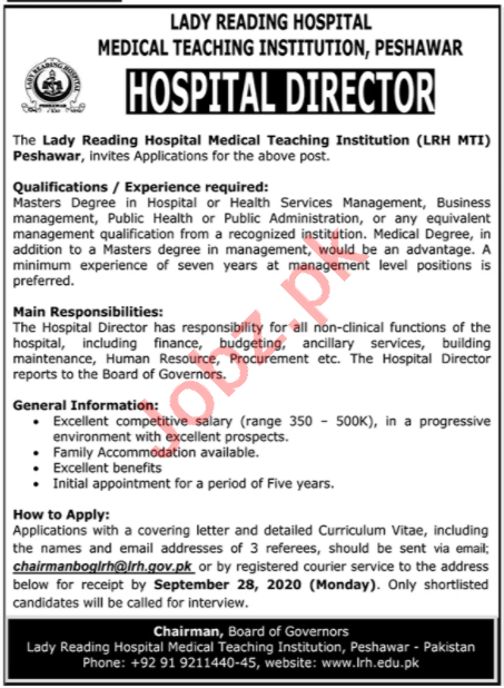 Lady Reading Hospital LRH Jobs 2020 for Hospital Director