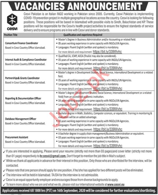 Cesvi Pakistan Jobs 2020 for Consortium Finance Coordinator