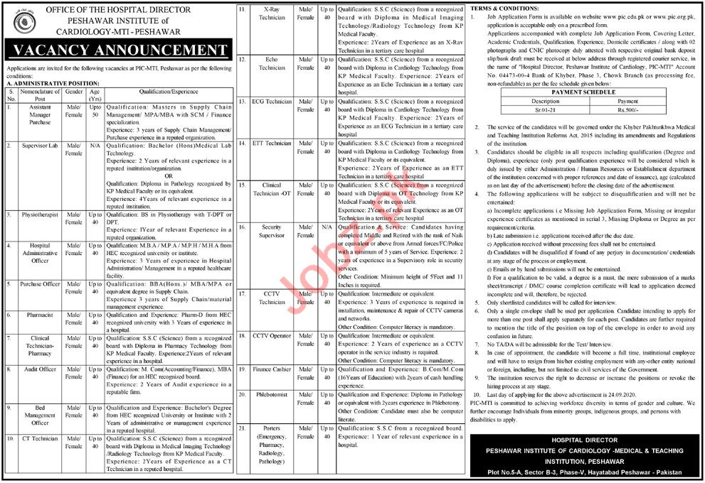 Peshawar Institute of Cardiology PIC Jobs 2020 Technicians