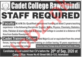 Cadet College Rawalpindi CCR Jobs 2020 for Lecturers