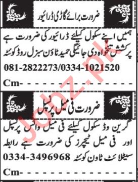 Female Principle & Teacher Jobs 2020 in Quetta