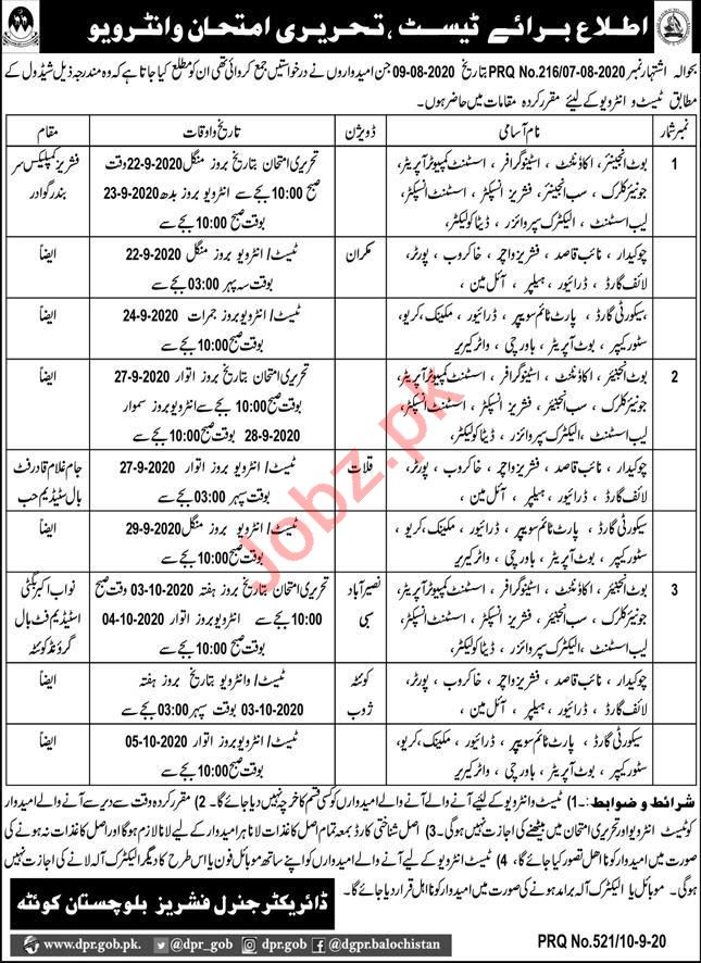 Fisheries Department Balochistan Jobs Interview 2020