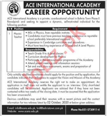 Ace International Academy Rawalpindi Jobs 2020 for Teachers
