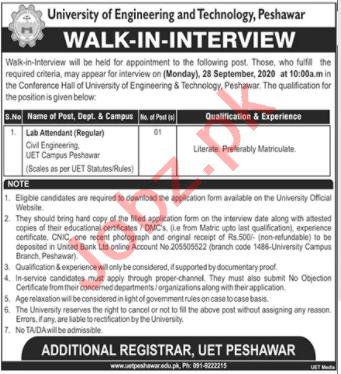 UET University Peshawar Jobs Interview 2020 Lab Attendant