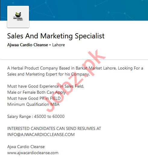 Sales & Marketing Specialist Jobs 2020 Ajwa Cardio Cleanse