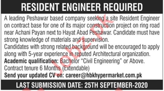 Resident Engineer & Civil Engineer Jobs 2020 in Peshawar