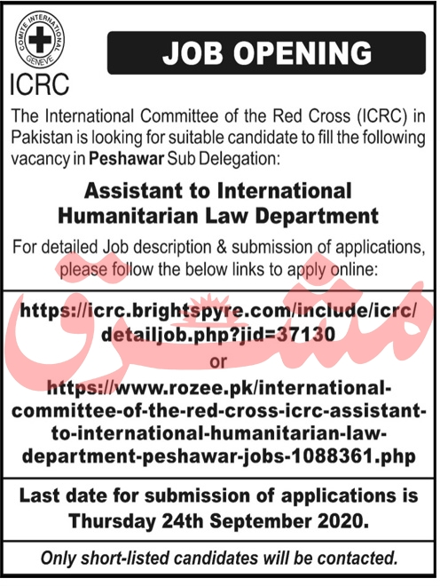 International Committee of Red Cross ICRC Job 2020