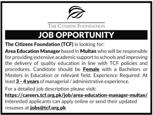 Area Education Manager Job 2020 in Multan