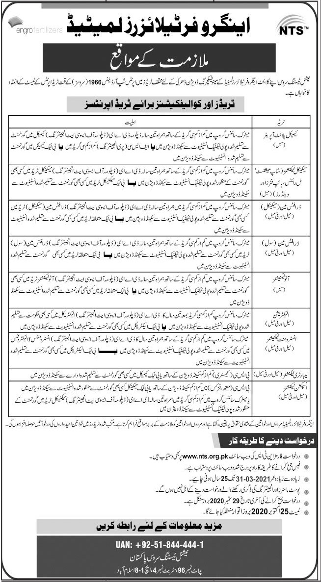 Engro Fertilizers Limited Jobs 2020 via NTS