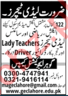 Gohar Educational Campus GEC Lahore Jobs 2020 for Teachers