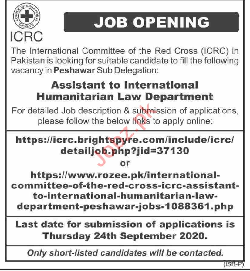 International Committee of the Red Cross ICRC Jobs 2020