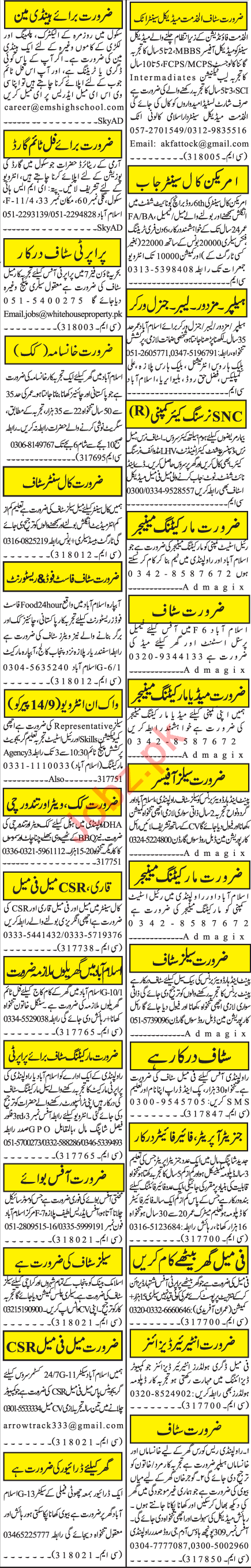 Jang Sunday Classified Ads 13 Sep 2020 for Office Staff