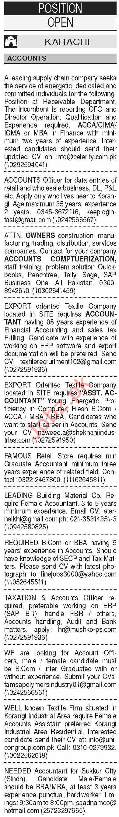 Dawn Sunday Classified Ads 13 Sep 2020 for Accounts