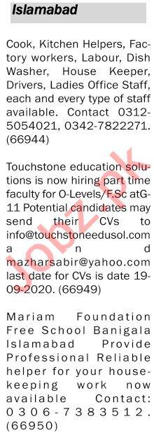 The News Sunday Islamabad Classified Ads 13 Sep 2020