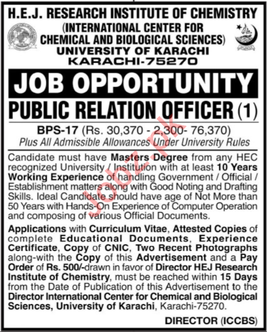 HEJ Research Institute of Chemistry ICCBS Jobs 2020