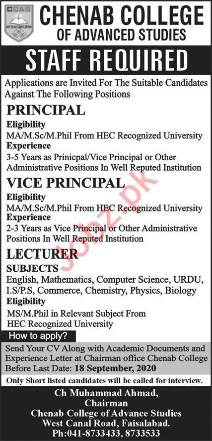 Chenab College of Advanced Studies Faisalabad Jobs 2020