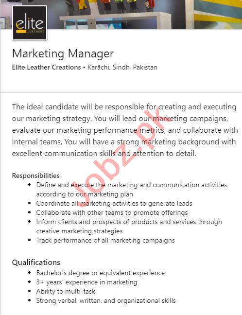 Elite Leather Creations Karachi Jobs 2020 Marketing Manager