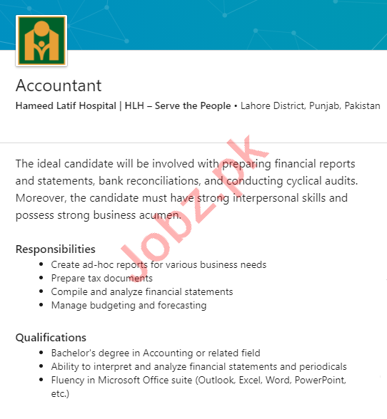 Hameed Latif Hospital HLH Lahore Jobs 2020 for Accountant
