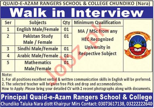 Quaid e Azam Rangers School & College Chundiko Nara Jobs