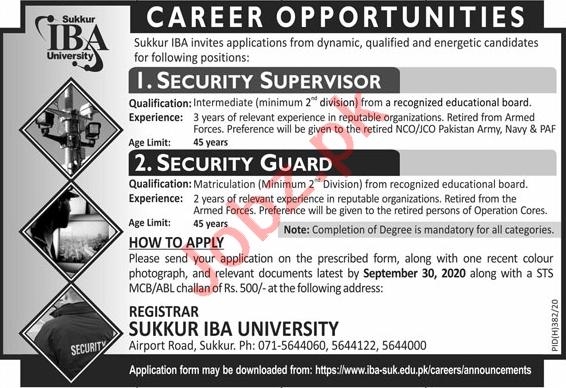 Security Supervisor & Security Guard Jobs 2020 in Sukkur