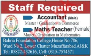 Bahria Foundation College Muzaffarabad Jobs 2020 for Teacher