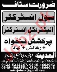 Civil Instructor & Electrical Instructor Jobs 2020 in Lahore