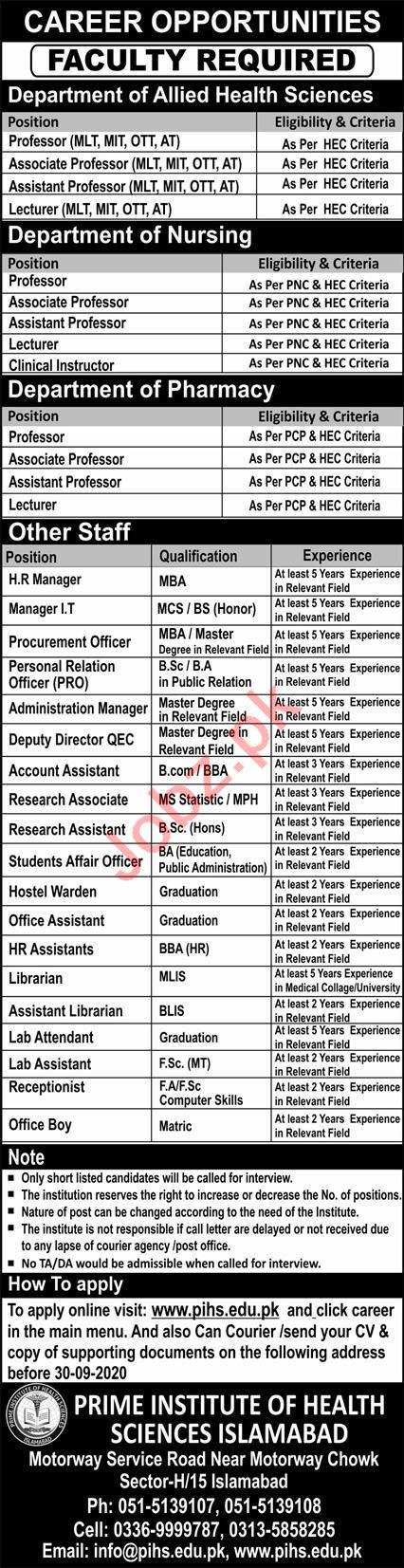 Prime Institute of Health Sciences Islamabad PIHS Jobs 2020