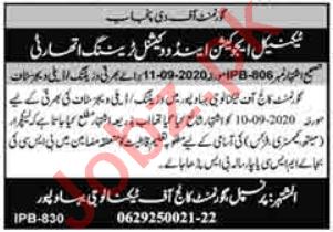 Government College of Technology GCT Bahawalpur Jobs 2020