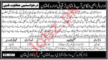 Multan Development Authority MDA WASA Jobs 2020