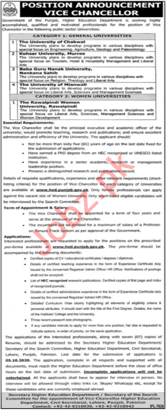 Vice Chancellor Jobs 2020 in Higher Education Department HED