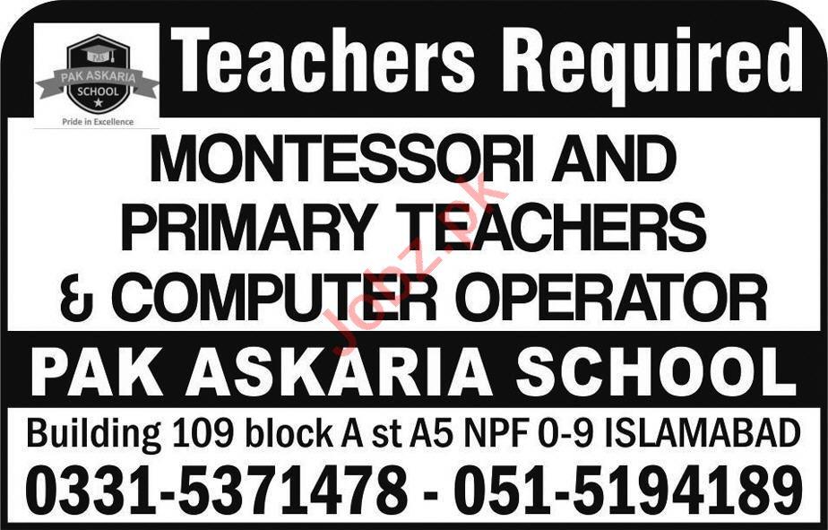 Montessori Teacher & Primary Teacher Jobs 2020 in Islamabad