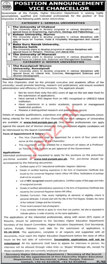 Higher Education Department HED Jobs for Vice Chancellor