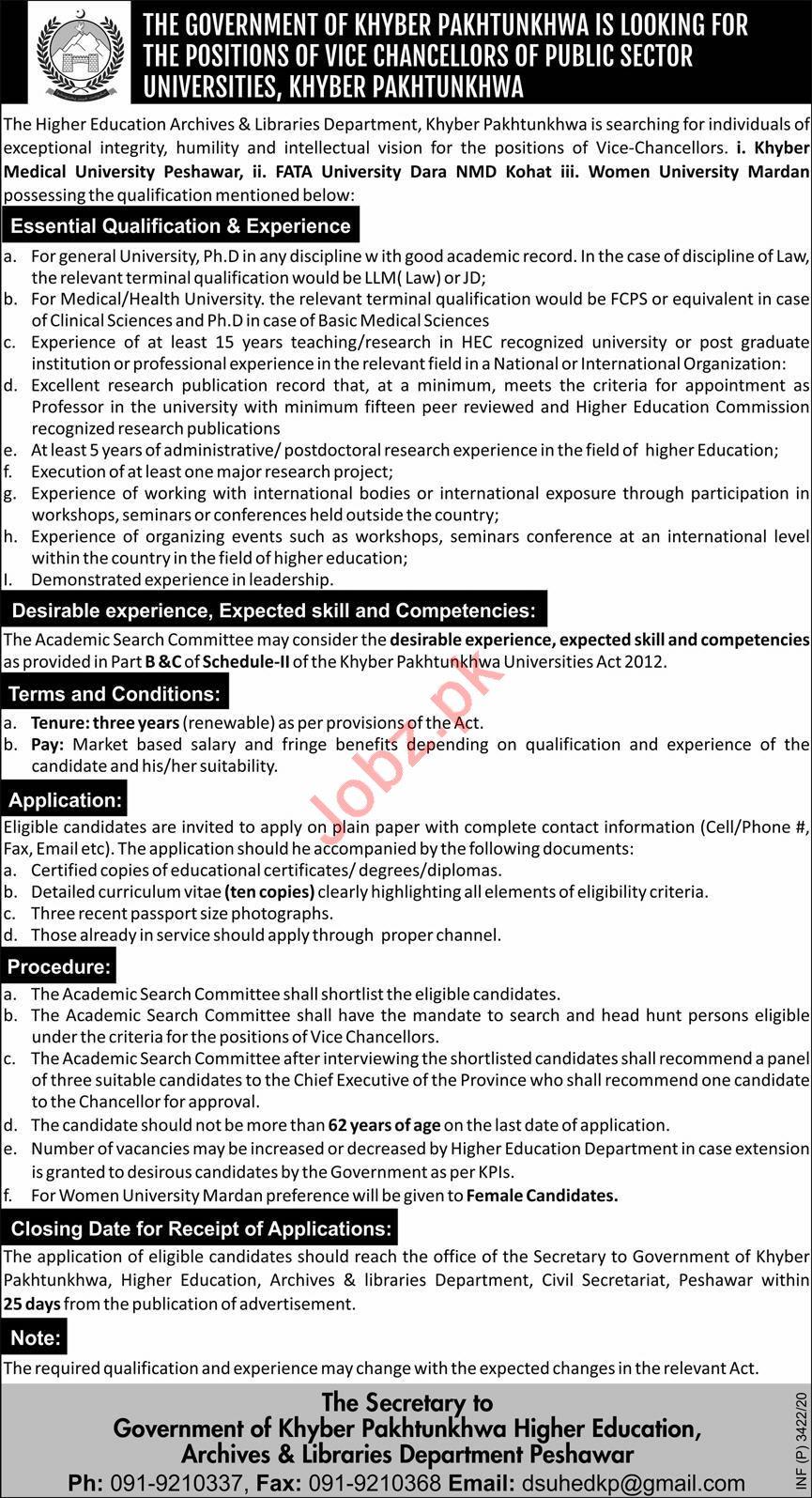 KPK Higher Education Department Jobs for Vice Chancellor