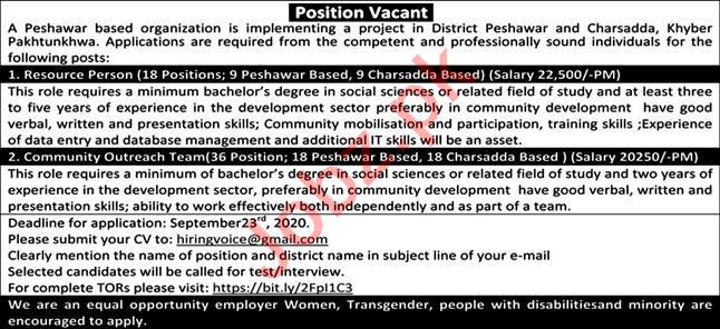 Resource Person & Community Outreach Team Jobs 2020