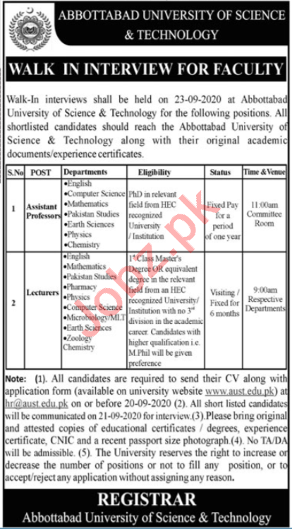 Abbottabad University of Science & Technology Jobs 2020