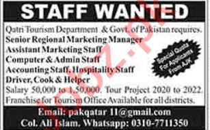 Qatri Tourism Department Lahore Jobs 2020 for Managers