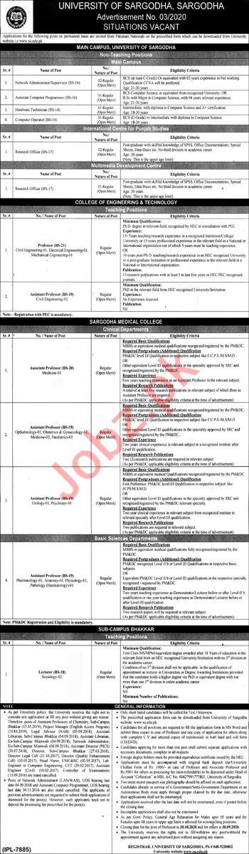 Teaching & Non Teaching Staff Jobs in University of Sargodha