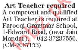 Art Teacher Jobs 2020 in Farooqi Grammar School Lahore