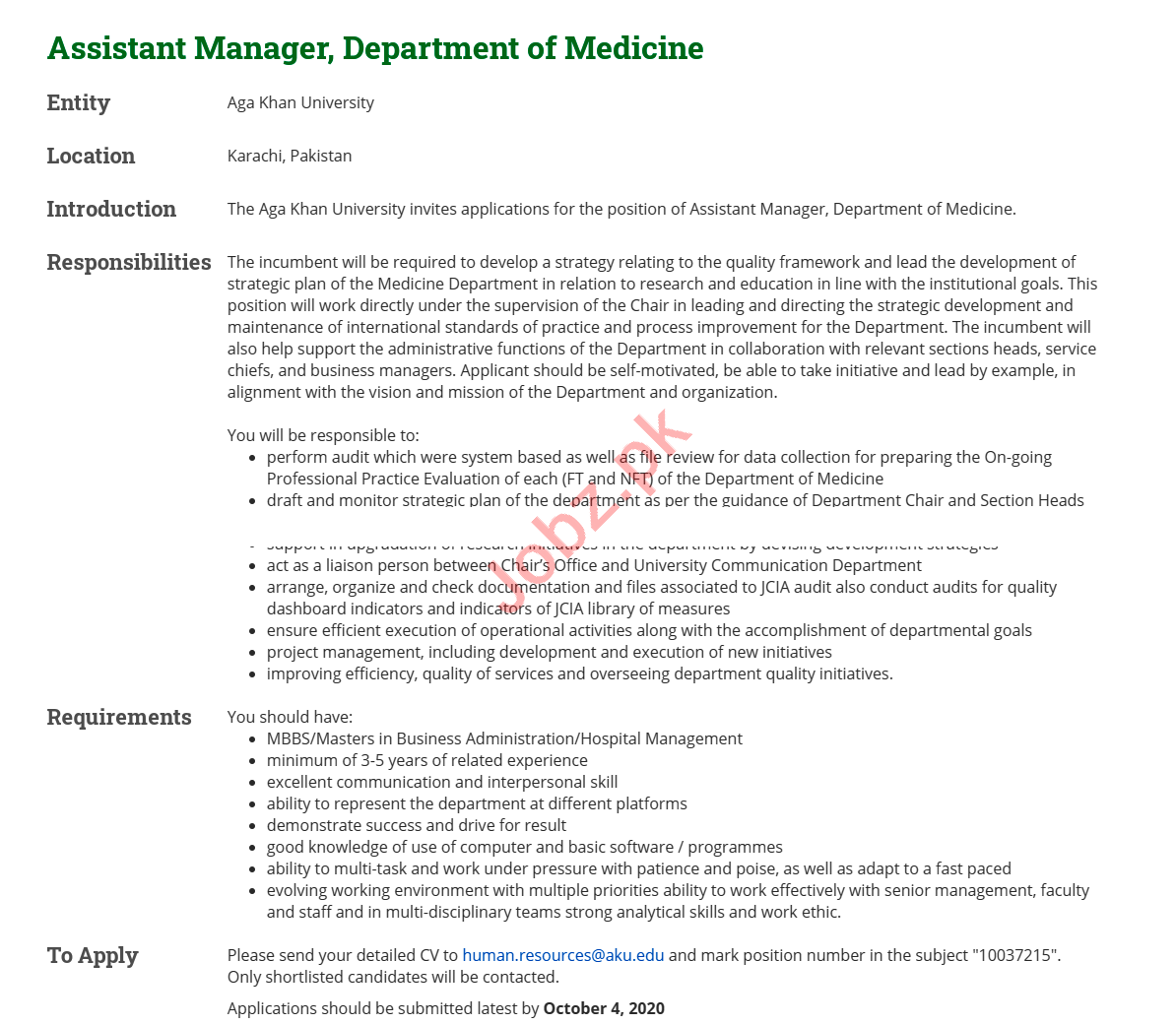 Aga Khan University AKU Karachi Jobs 2020 for Asst Manager